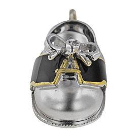 Aaron Basha 18K White Gold with Diamond Black Saddle Shoe Bow Charm Pendant