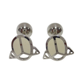 Cartier 925 Sterling Silver / White Lacquer Scarab Cufflinks