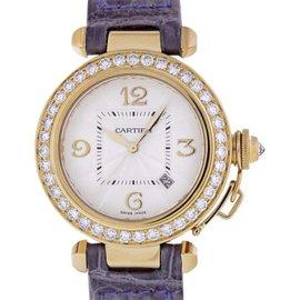Cartier Pasha 2397 WJ10495 18K Yellow Gold & Leather wDiamond Automatic 32mm Womens Watch