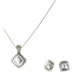 John Hardy Dot 925 Sterling Silver Classic Chain Square Hammered Necklace Earrings Set