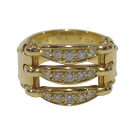 Hermes 18K Yellow Gold 0.32ct. Diamonds Ring Size 6