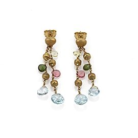 Marco Bicego Paradise 18K Yellow Gold Multicolor Gems 2 Strand Dangle Earrings