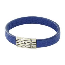 John Hardy Classic 925 Sterling Silver Blue Leather Chain Bracelet
