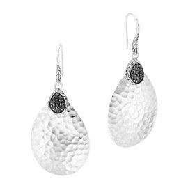 John Hardy Classic Chain Sterling Silver 0.15ct. Black Sapphire Drop Earrings