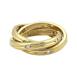 Cartier Trinity 0.25ct. Diamond 18K Yellow Gold Grooved 3 Band Ring Size 5.25