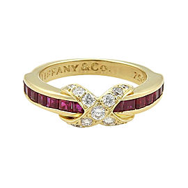 """Tiffany & Co. 18K Yellow Gold with 1.12ct Diamonds and Ruby Signature """"X"""" Design Band Ring Size 6.5"""