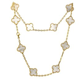 Van Cleef & Arpels 18K Yellow Gold Alhambra Mother of Pearl 10 Motif Necklace