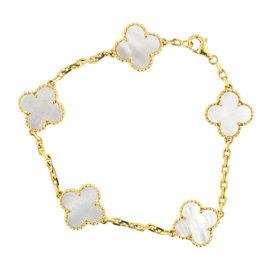 Van Cleef & Arpels Vintage 18K Yellow Gold Alhambra Mother of Pearl 5 Motif Bracelet