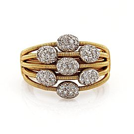 Marco Bicego 18K White & Yellow Gold with 0.40ctw Diamond Multi-Strand Cable Band Ring Size 7