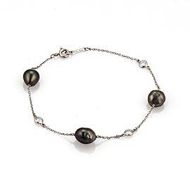 Tiffany & Co. Peretti PT950 Platinum with Tahitian Keshi Cultured Pearls & 0.24ct Diamond Bracelet