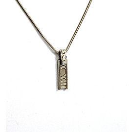 Tiffany & Co. 18K White Gold with 0.12ct Diamond Atlas Roman Numeral Pendant Chain Necklace