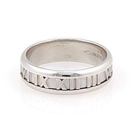 Tiffany & Co. 18K White Gold Atlas Numerical Band Ring Size 11.25