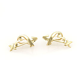 Tiffany & Co. Paloma Picasso 18K Yellow Gold Open Heart & Arrow Earrings