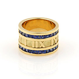 Tiffany & Co. 18K Yellow Gold with 1.75ct Blue Sapphires Atlas Numerical Band Ring Size 5.75