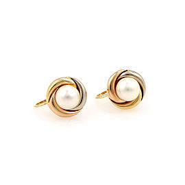 Cartier Trinity 18K Yellow, White and Rose Gold with Pearl Earrings