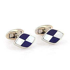 Tiffany & Co. 18K White Gold with Inlaid Lapis and Mother of Pearl Cufflinks