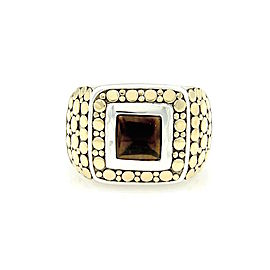 John Hardy 18K Yellow Gold and Sterling Silver Onyx Square Shape Dot Ring Size 10