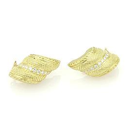 Judith Ripka 18K Yellow Gold & Diamond Spiral Curved Huggie Earrings