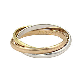 Cartier Trinity 18K Yellow, White and Rose Gold Band Ring Size 5