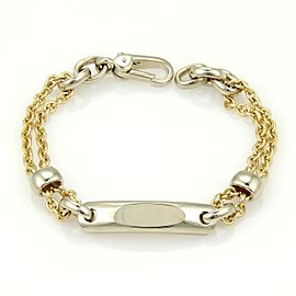 Pomellato 18K Yellow & White Gold ID Tag Double Chain Link Bracelet