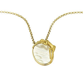 Carrera y Carrera 18K Yellow Gold with Mother of Pearl & Nymph Oval Pendant Necklace