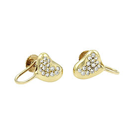 Tiffany & Co. Elsa Peretti 18K Yellow Gold with 0.30ct Diamond Heart Bean Stud Earrings