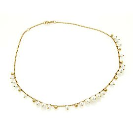 Mikimoto Elegant 18K Yellow Gold with Pearl Bead Graduated Link Necklace