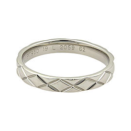 Chanel Iconic Quilted Platinum Band Ring Size 9.5