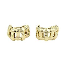 Tiffany & Co Vannerie 18K Yellow Gold Open Basket Weave Semi Hoop Earrings