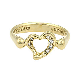 Tiffany & Co. Elsa Peretti 18K Yellow Gold & 0.06ct Diamond Open Heart Ring Size 5