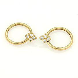 Cartier Hindu 18K Yellow Gold & 0.50ctw Diamond Floral Hoop Earrings