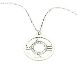 Tiffany & Co. Atlas 18K White Gold & 0.20ct Diamond Roman Numeral Round Pendant Necklace