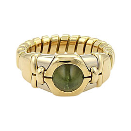 Bulgari Tubogas 18K Yellow & White Gold 1.5ct Green Tourmaline Ring Size 5