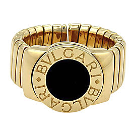 Bulgari Tubogas 18K Yellow Gold & Onyx Wide Band Ring Size 6.5