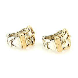 Hermes 18K Yellow Gold & 925 Sterling Silver Belt & Buckle Clip On Hoop Earrings