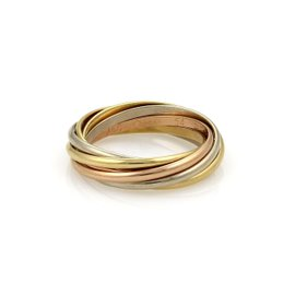 Cartier Trinity 18K Yellow, White and Rose Gold Band Ring Size 7