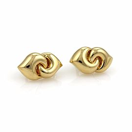 Bulgari 18K Yellow Gold Double Curved Hearts Post Clip Earrings