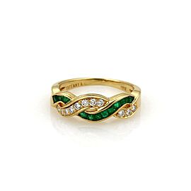 Tiffany & Co. 18K Yellow Gold 0.33ct Emerald & Diamond Infinity Style Band Ring Size 6
