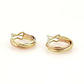 Cartier Trinity 18K Yellow, Rose and White Gold Interlaced Hoop Earrings