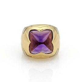 Bulgari Pyramid 18K Yellow and White Gold with Amethyst Floral Dome Shape Ring Size 6
