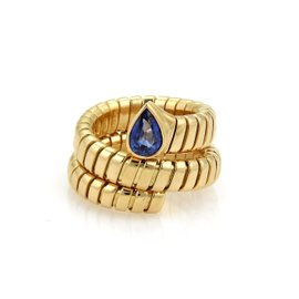 Bulgari Tubogas 18K Yellow Gold with 1.07ct Blue Sapphire Wrap Band Ring