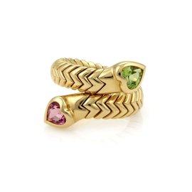 Bulgari Spiga 18K Yellow Gold Peridot & Tourmaline Bypass Band Ring Size 6