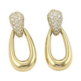 Cartier 18K Yellow Gold & 1.50ct Diamonds Oval Hoop Earrings