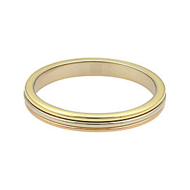 Cartier 18K Yellow, Rose & White Gold Stack Band Ring Size 9.5