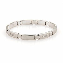 Tiffany & Co. 18K White Gold & 0.30ct Diamonds Textured Bar Link Bracelet