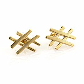 Tiffany & Co. Paloma Picasso 18K Yellow Gold Tic Tac Toe Stud Earrings