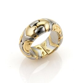 Bulgari Parentesi 18K Yellow Gold and Stainless Steel Open Band Ring Size 6