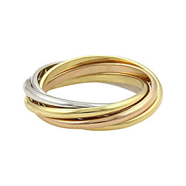Cartier Trinity 18K Tri-Color Gold 5 Rolling Band Ring Size 4.25