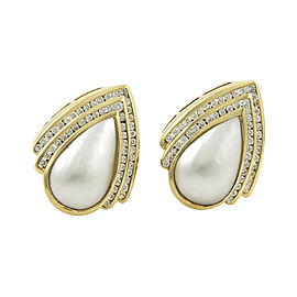 Charles Krypell 2ct. Diamonds & Mabe Pearl 18K Yellow Gold Post Clip Earrings