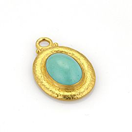 Gurhan 24K Yellow Gold Turquoise Hammered Oval Shape Pendant